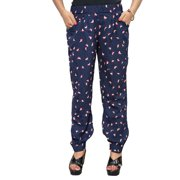 Mogul Women's Trouser Navy Blue Printed Designer Comfy Yoga Pants