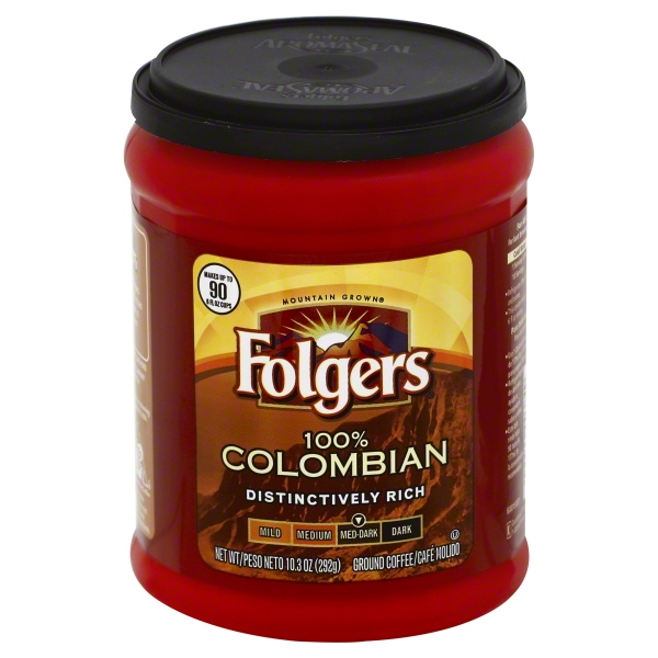 Folgers 100% Colombian Med-Dark Ground Coffee, 10.3 oz