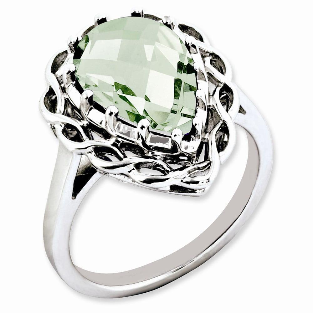 Sterling Silver Green Quartz Ring. Gem Wt-4.25ct