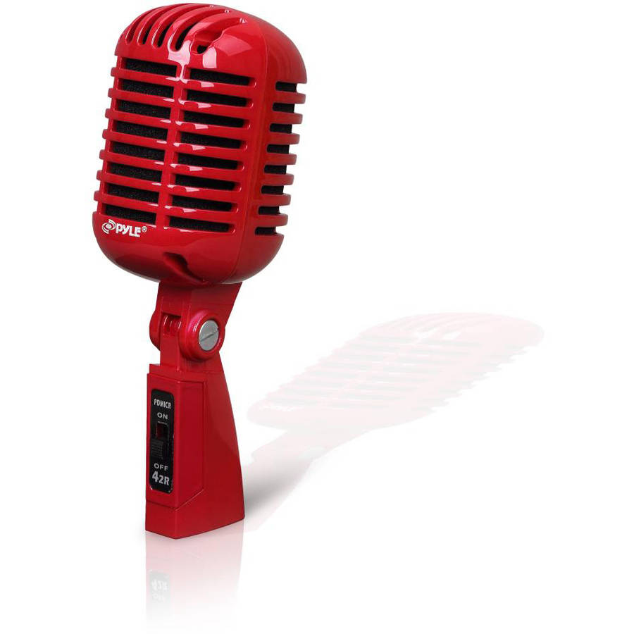 Pyle PDMICR42R Classic Retro Vintage Dynamic Vocal Microphone, Red by Pyle