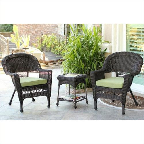 Jeco 3 Piece Wicker Conversation Set in Espresso with Green Cushions