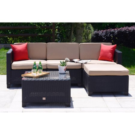 Cloud Mountain Wicker 5 Piece Patio Secional Sofa Set