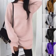Women Middle Collar Long Sleeve Jumper Sweater Loose Pullover Dress