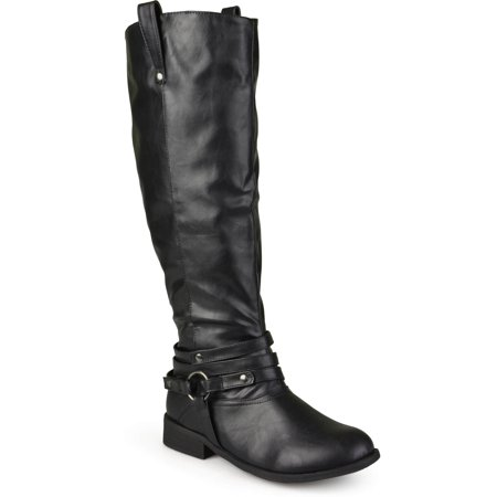 Women's Extra Wide Calf Ankle Strap Knee-high Riding