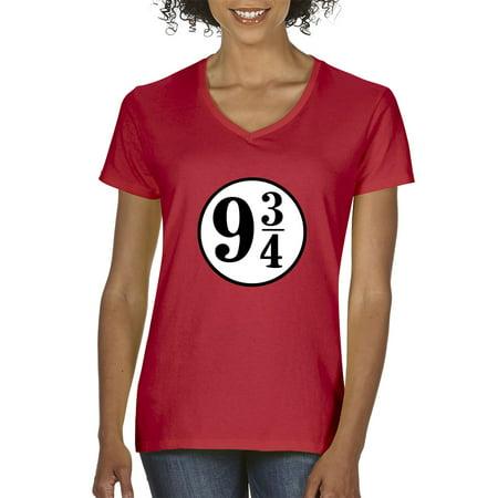 New Way 929 - Women's V-Neck T-Shirt 9 3/4 Harry Potter Hogwarts Express Small Red](Express Women)