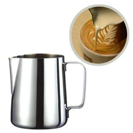 Stainless Steel Espresso Garland Printed Coffee Pitcher Craft Latte Milk Frothing Jug Milk Steamer Cup Jug(600ml)