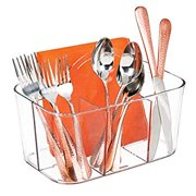 Plastic Cutlery Storage Organizer Caddy Bin - Tote with Handle - Kitchen Cabinet or Pantry - Basket Organizer for Forks, Knives, Spoons, Napkins - Indoor or Outdoor Use, Small - Clear