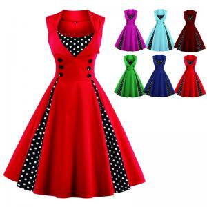 c3a055d45f238 Women s Retro 50s Swing Polka Dot Pinup Rockabilly Evening Party Dress Plus  Size