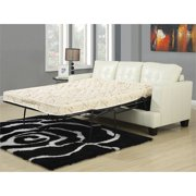 Bowery Hill Faux Leather Tufted Queen Sleeper Sofa in Cream
