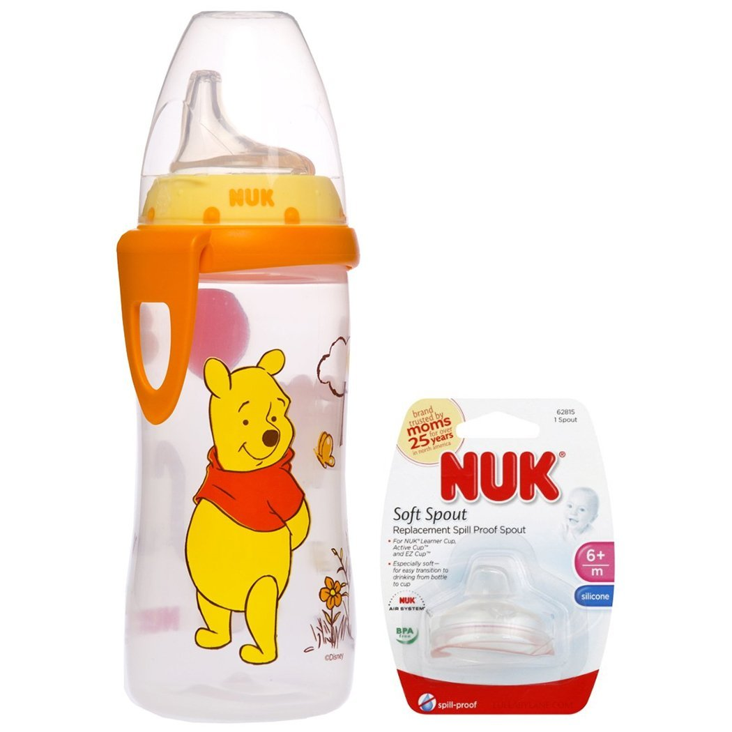 NUK Disney Winnie the Pooh 10 Ounces Active Cup Silicone Spout with NUK Replacement Silicone Spout, Clear by Nuk