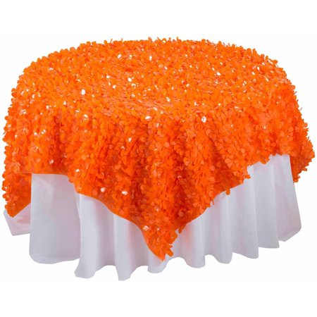 Generic Vinyl Floral Sheeting Table Overlay, Orange, For 96