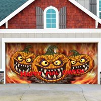 The Holiday Aisle Three Scary Pumpkins Garage Door Mural