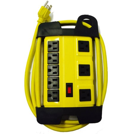 Inland Products Proht 03209 5 3 Outlet Metal Power Strip  Yellow