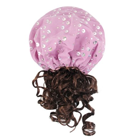 Unique Bargains Unique Bargains Short Coffee Color Curly Wig Hat Hairband Hair Hoop Pink for](V For Vendetta Hat And Wig)