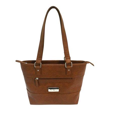 VISM Concealed Carry Tote Bag - Brown Suede Tote