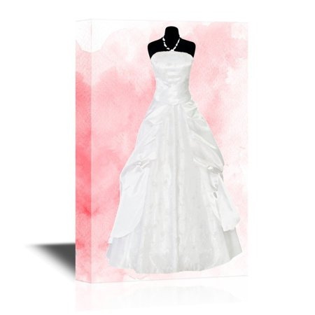 Watercolor Dresses (wall26 Canvas Wall Art - White Wedding Dress on Pink Watercolor Style Background - Gallery Wrap Modern Home Decor | Ready to Hang - 32x48)