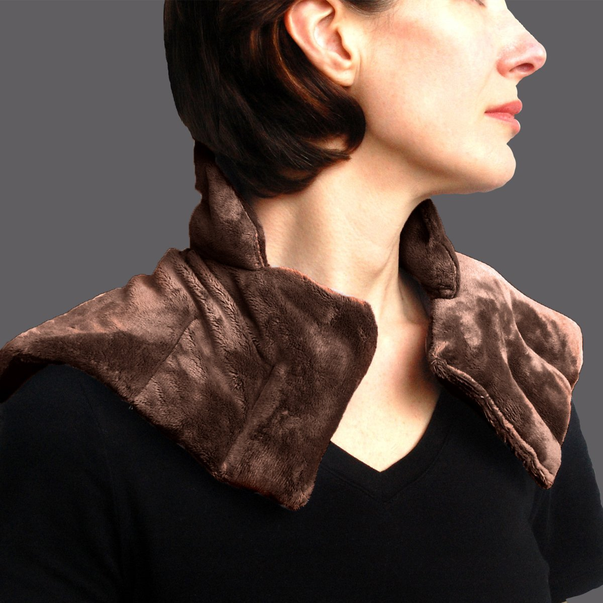Heated Microwaveable Neck and Shoulder Wrap - Herbal Hot / Cold Deep Penetrating Herbal Aromatherapy - Charcoal