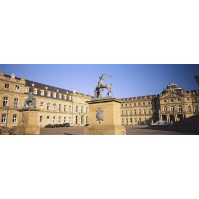 Panoramic Images PPI93763L Low Angle View Of Statues In Front Of A Palace  New Palace  Schlossplatz  Stuttgart  Baden-Wurttemberg  Germany Poster Print by Panoramic Images - 36 x 12