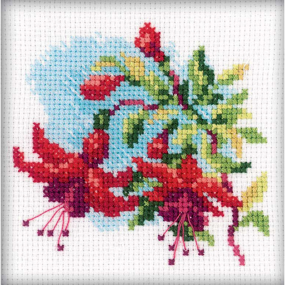"Fuchsia Counted Cross Stitch Kit, 4"" x 4"", 14-Count"