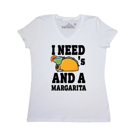 I Need Tacos and a Margarita with Taco Illustration Women's V-Neck T-Shirt - Female Taco