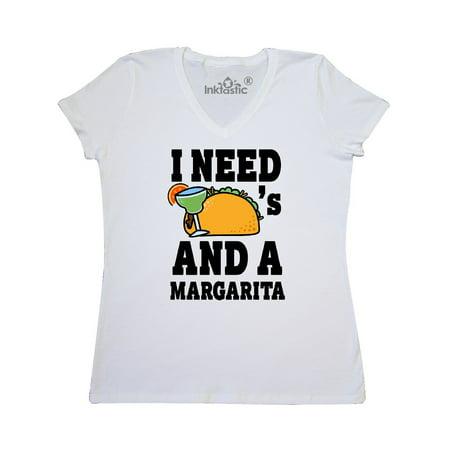 Need Neck - I Need Tacos and a Margarita with Taco Illustration Women's V-Neck T-Shirt