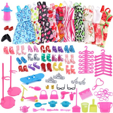 10PCS Fashion Mixed Style Dress Ornaments Shoes Accessories for Dolls Doll Best Gift Girl Toy Color:Random style and colors Height:Dolls Doll Accessories
