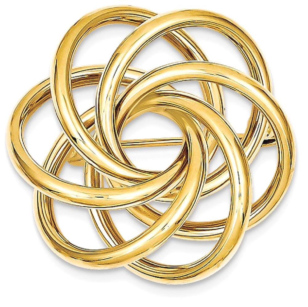 ICE CARATS 14kt Yellow Gold Circle Pin Woman Fine Jewelry Ideal Gifts For Women Gift Set From Heart by IceCarats Designer Jewelry Gift USA