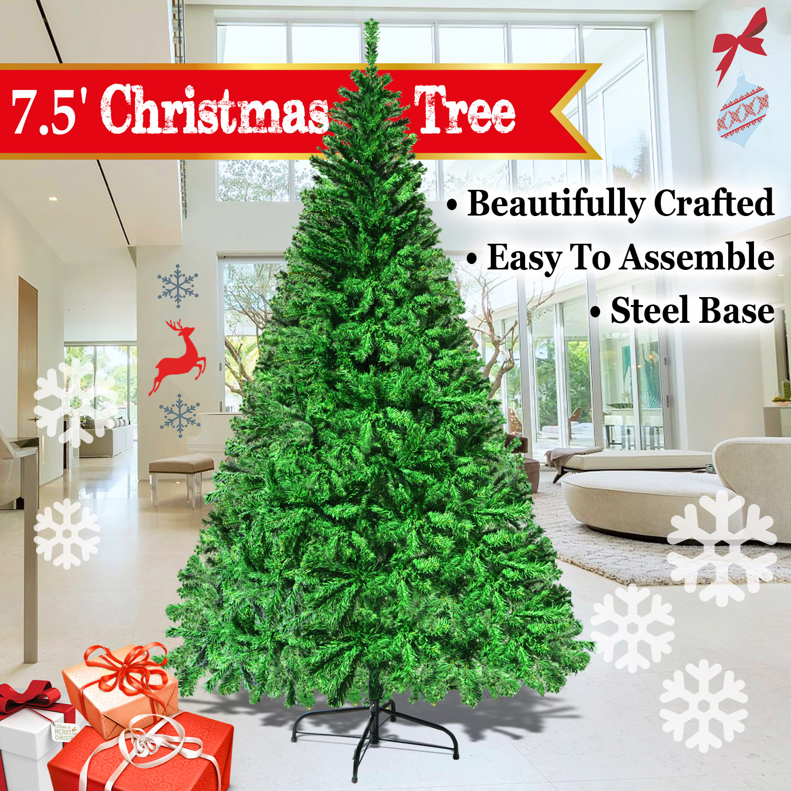 Strong Camel NEW Green 7.5' Classic Pine Christmas Xmas Tree Artificial Realistic Natural Branches-1200 tips with Solid Metal Stand
