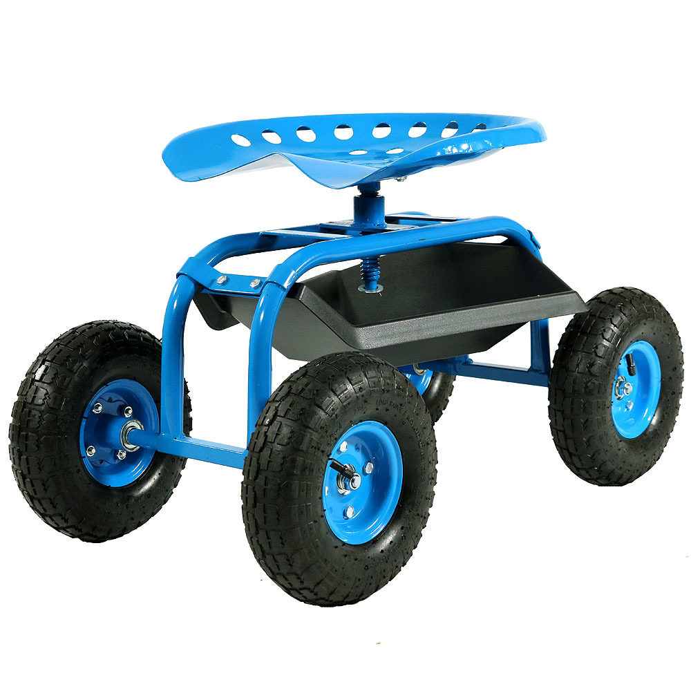 Sunnydaze Rolling Shop Cart with 360 Degree Swivel Seat & Tool Tray, Blue