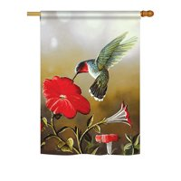 "Breeze Decor - Ruby Hummingbird Garden Friends - Everyday Birds Impressions Decorative Vertical House Flag 28"" x 40"" Printed In USA"