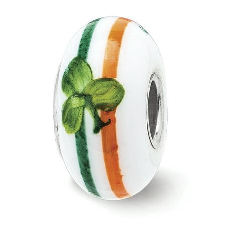 Lex & Lu Sterling Silver Reflections Hand Painted The Irish Fenton Glass Bead