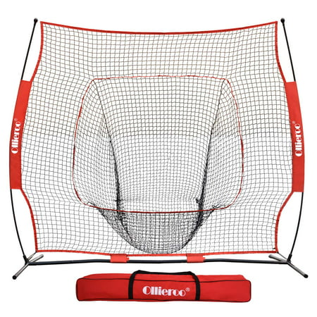 Ollieroo 7×7 Baseball and Softball Practice Hitting Batting Training Net with Carry Bag