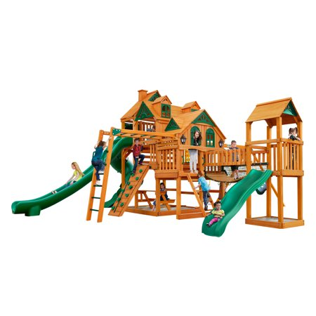 Gorilla Playsets Empire Extreme Wooden Swing Set with Monkey Bars, Clatter Bridge and Tower, and 3 Slides ()