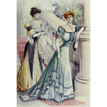 Latest Paris Fashions 1877 Toilette de Soiree Poster Print by Unknown - Soiree Halloween Paris