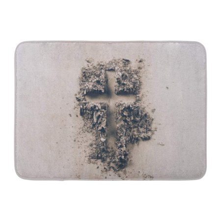 Christian Dior Top (GODPOK Christianity Christian Top View of Cross Shape from Ash on White Tabletop Religion Copy Rug Doormat Bath Mat 23.6x15.7 inch )