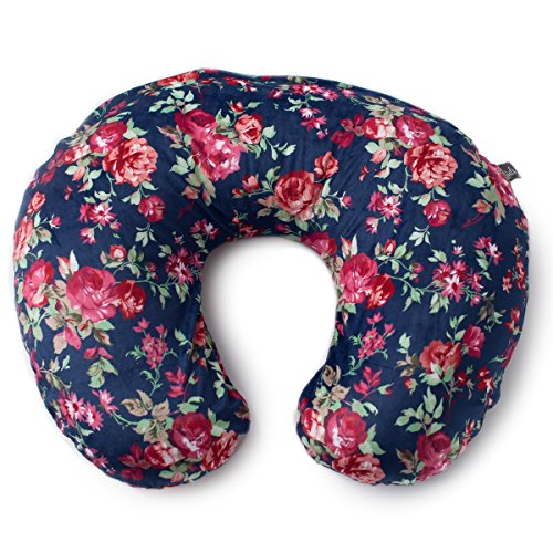 Kids N' Such Minky Nursing Pillow Cover | Navy Floral Slipcover | Best for Breastfeeding Moms | Soft Fabric Fits Snug On Nursing Pillows to Aid Mothers While Breast Feeding | Great Baby Shower Gift
