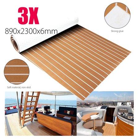 3Pcs 91''x35'' Marine Boat Yacht Sheet EVA Foam Faux Teak Decking Sheet Self-Adhesive Mat - Brown with White