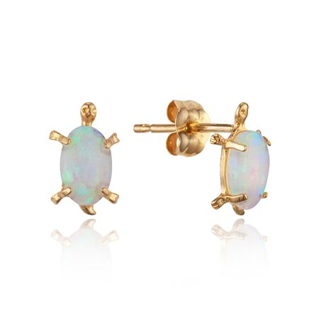 Baby Turtle Earrings - 14k Yellow Gold Simulated Opal Turtle Stud Children Baby Girls Stud Earrings