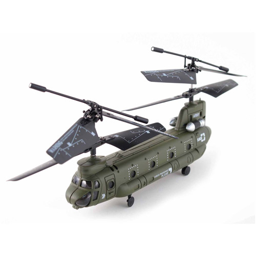 Syma S026G 3.5 Channel RC Mini Chinook Helicopter with Gyro, Army-Green