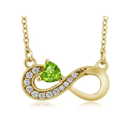 0.40 Ct Heart Shape Green Peridot 18K Yellow Gold Plated Silver Infinity Necklace 18k Yellow Gold Necklace