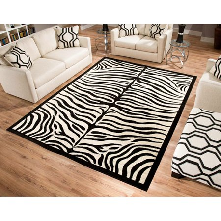 terra zebra woven area rug black and beige. Black Bedroom Furniture Sets. Home Design Ideas