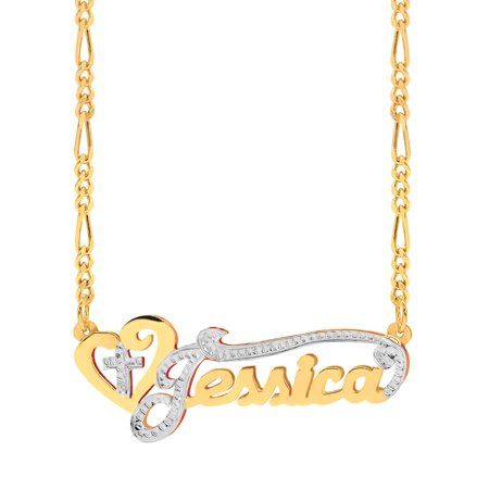 Personalized Sterling Silver, Gold Plated, 10k or 14k Religious Nameplate Necklace with Heart and Cross with an 18 inch Silver Plated Figaro Chain