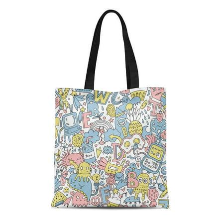 ASHLEIGH Canvas Tote Bag Detailed Cartoon Doodle Pattern Different Letters Monsters Strange Creatures Reusable Shoulder Grocery Shopping Bags Handbag - Monster Handbag