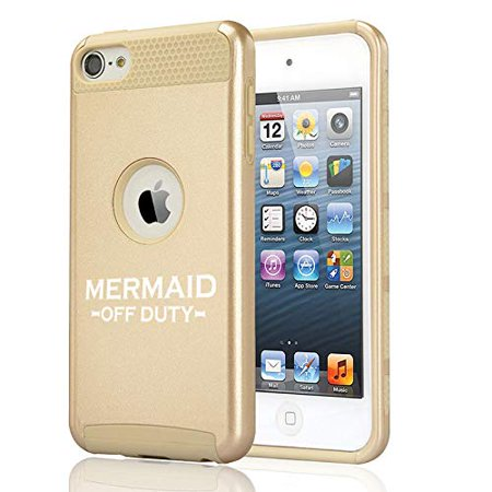 Off Apple Ipod - Shockproof Impact Hard Soft Case Cover for Apple (iPod Touch 5th / 6th) Mermaid Off Duty (Gold)