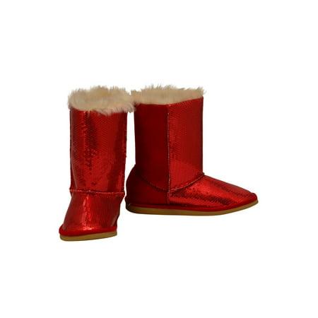 Girls Red Sparkle Sequin Embellished Faux Fur Carol Boots Embellished Faux Fur