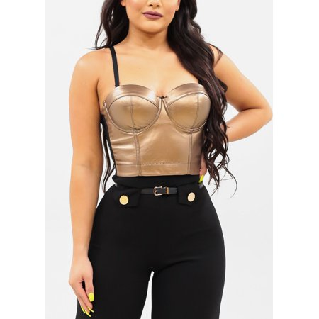 Women's Junior Ladies Sexy Must Have Going Out Sexy Clubwear Night Out Party Spaghetti Strap Gold Bustier Corset Crop Top 41556V](Halloween Spagetti)