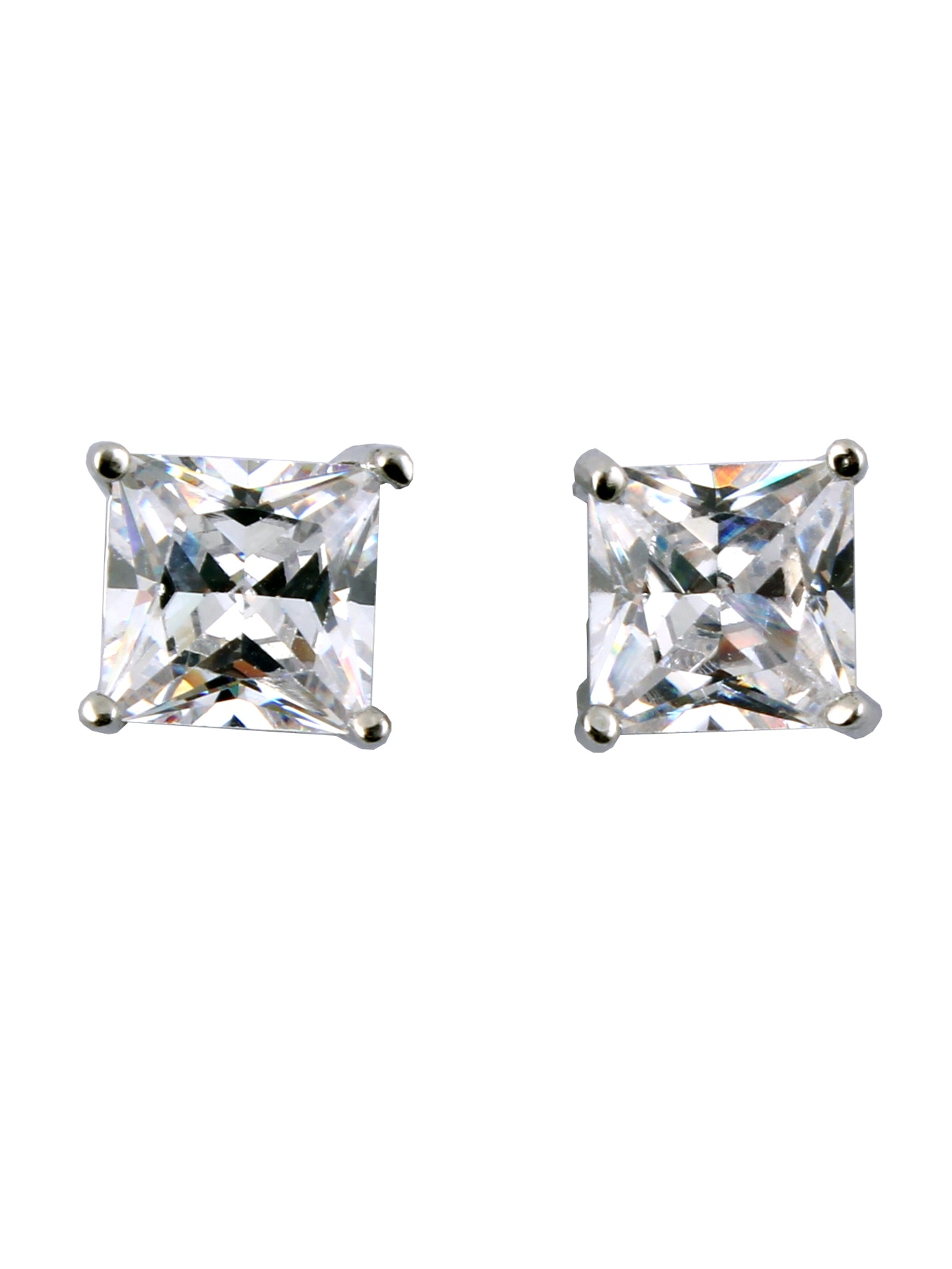 b9416fc661e 1 Pair Unisex CZ Clear Magnetic Clip On 4 Claws Earrings Studs - Walmart.com