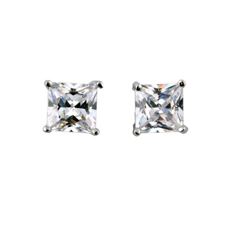 1 Pair Unisex CZ Clear Magnetic Clip On 4 Claws  Earrings Studs
