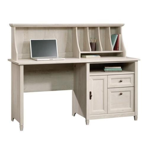 Sauder Edge Water Computer Desk With Hutch In Chalked