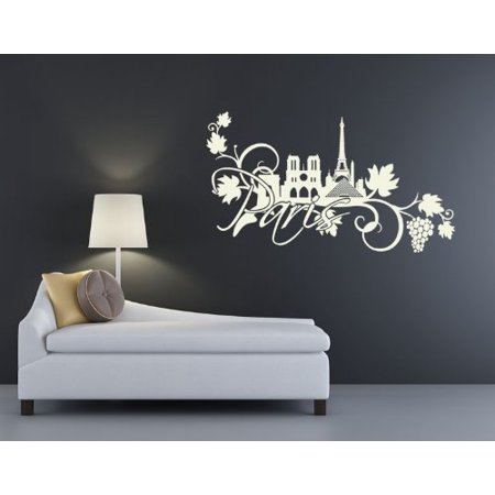 Paris Floral Wall Decal - wall decal, sticker, mural vinyl art home decor - 3907 - Gray, 59in x 33in
